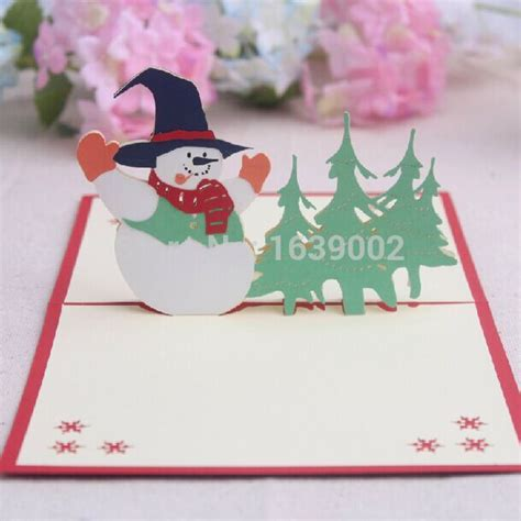 Fancy Gift Card - creative christmas blessing card 3d snowman fancy gift cards 50pcs lot free shipping