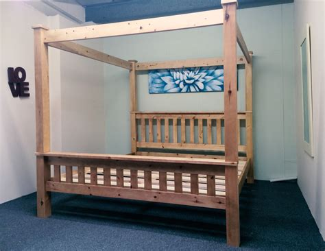 Pine Four Poster Bed Frame 5ft Kingsize Bed Frame Solid Pine Chunky Four Poster Ebay