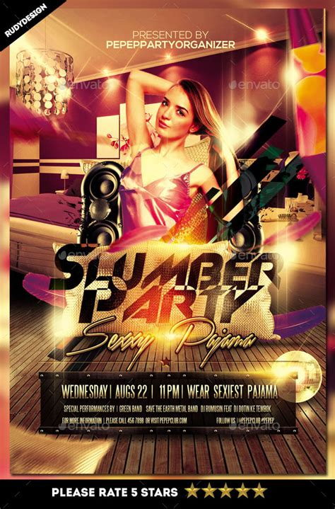 Slumber Party Flyer By Rudydesign Graphicriver Pajama Flyer Template