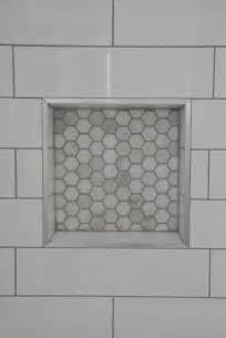 Hexagon Tile Kitchen Backsplash shower design with subway tile and marble tile niche the