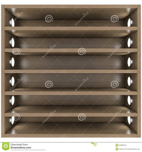 shelves with lights built in wooden shelves with built in lights royalty free stock
