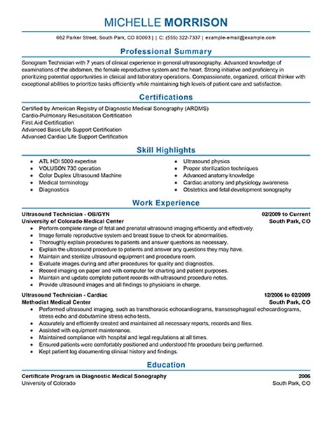 ultrasound resume exles best ultrasound technician resume exle livecareer