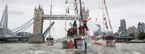 thames clipper marathon day clipper race fleet performs parade of sail on river thames