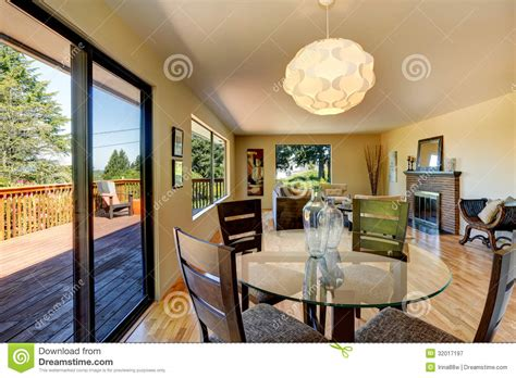 Large Dining Room With Fireplace Large Living Room With Dining Room Table Balcony And