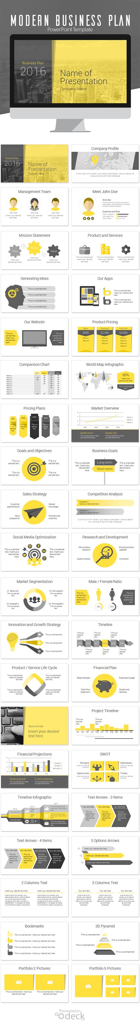 Modern Business Plan Powerpoint Template Design Och Inspiration Modern Business Plan Template