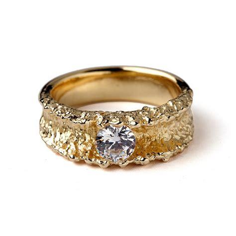 surf yellow gold engagement ring unique cz engagement