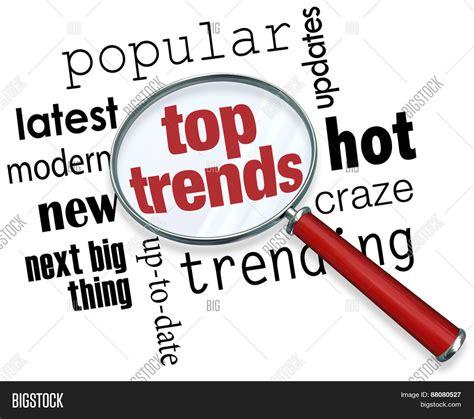popular news updates top trends words under magnifying image photo bigstock