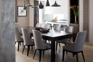 Grey Dining Room Furniture Tom Dixon Pendant Lighting Large Table And Gray Upholstered Dining Room Chairs With Back