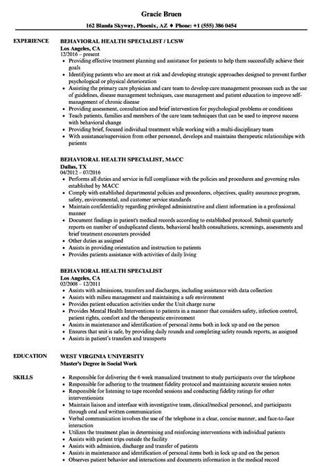 Behavioral Specialist by Behavioral Specialist Sle Resume Sanitation Worker Description Quality Assurance