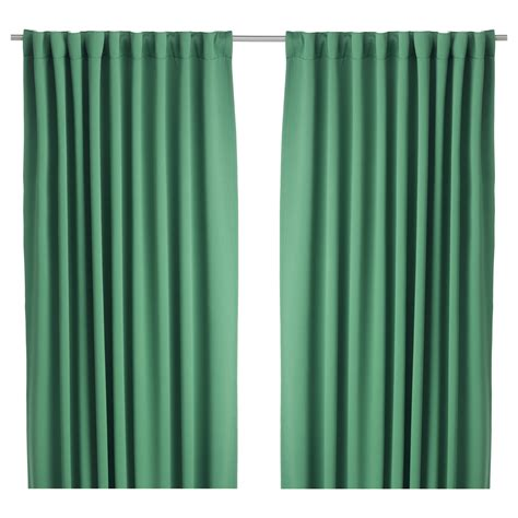werna curtains werna block out curtains 1 pair green 145x300 cm ikea