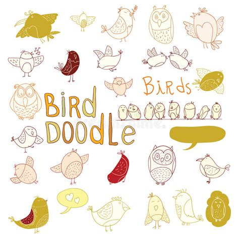 doodle bird free vector bird doodle set vector illustration stock vector image