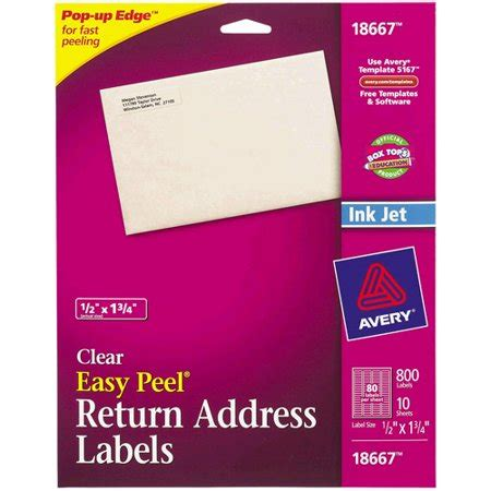 Avery Easy Peel Return Address Labels Clear 80 Count Walmart Com Avery Return Address Labels Clear Template