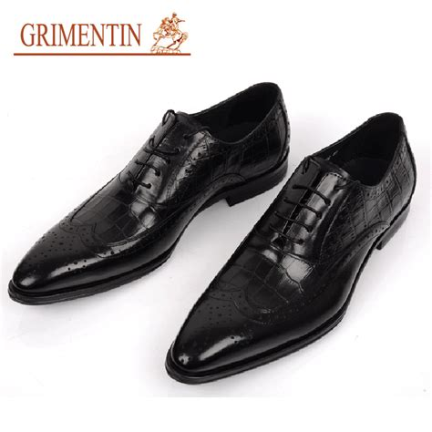 Wedding Shoes Black by Aliexpress Buy Grimentin Brand Genuine Leather Mens