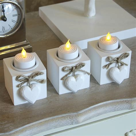 Deepa Candleholder Golden White Set Of 3 set three white wooden tealight holders shabby vintage chic wedding candle ebay