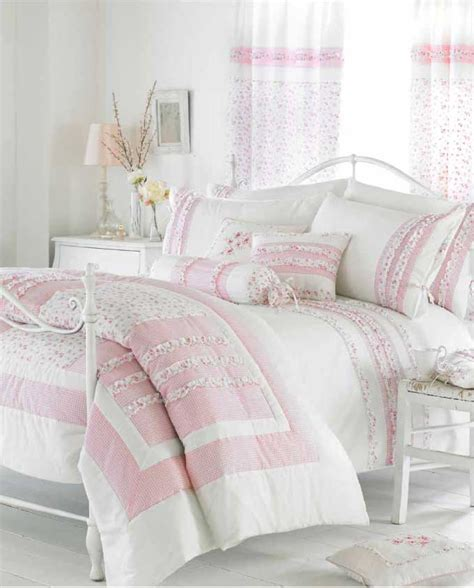 Pink And White Bedding White Cream Pink Ruffle Bedding Duvet Cover Or Bedspread