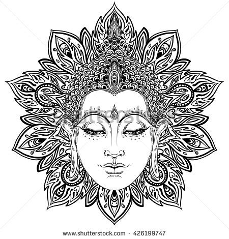 pattern in chief meaning buddha face over ornate mandala round pattern esoteric