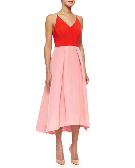 Dress Of The Day Phoebe Couture Pleated Dress by Phoebe Couture Halter Colorblock Fit Flare Dress
