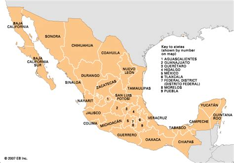 the map of mexico states mexico state government encyclopedia children s