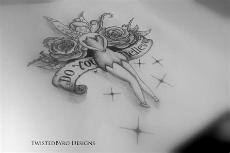 tinkerbell roses tattoo design by twistedbyro on deviantart