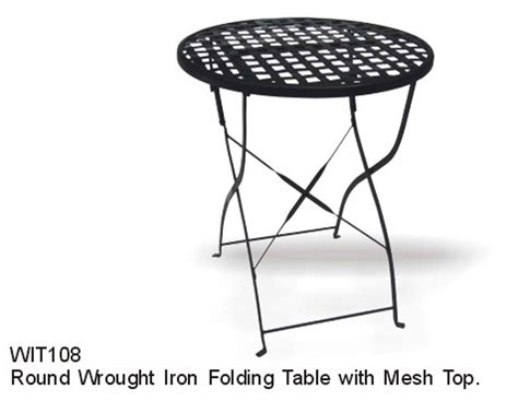 Mesh Top Patio Table Dc America Soho Wrought Iron Folding Table With Mesh Top Outdoor Living Patio