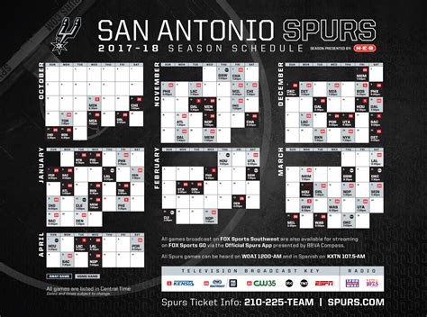 printable spurs schedule san antonio spurs release 2017 18 broadcast schedule san