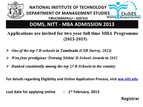 Mba In Trichy by Nit Trichy Admissions