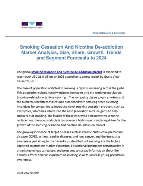 Drugs And Detox Center Industry Analysis by Cessation And Nicotine De Addiction Market