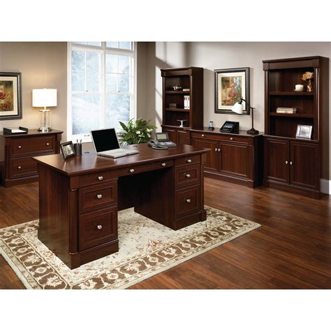 sauder palladia executive desk in vintage oak palladia executive desk diyda org diyda org