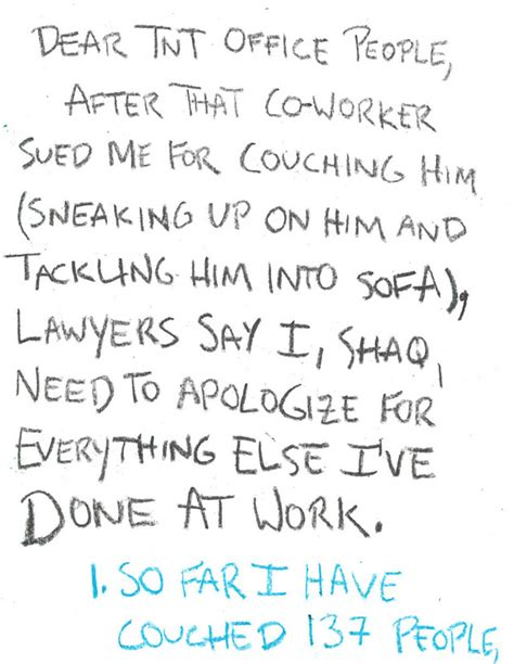 Apology Letter Coworker Sle Shaq S Apology Letter To His Coworkers For Horsing Around From