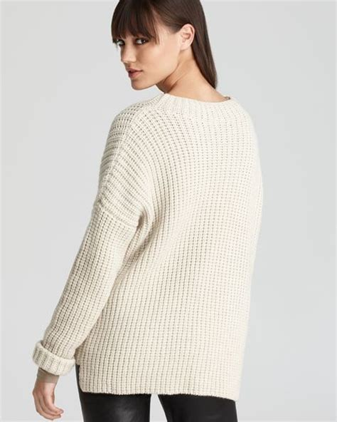 shaker knit sweater vince sweater rib stitch shaker knit crew in beige ivory