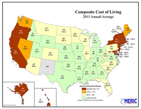 states with low cost of living cost of living by u s state 2015 compare cons