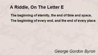 a riddle on the letter e poem by george gordon byron