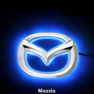led car logo blue light auto badge light for mazda 5