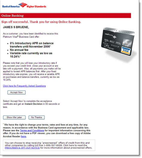 Three Sle Credit Card Offers Bank Of America S Preapproved Card Offer At Logoff Finovate