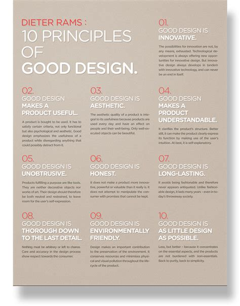 poster layout principles dieter rams 10 principles of good design poster on the