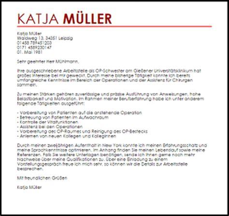 Bewerbungsschreiben Assistenzarzt Chirurgie Bewerbungsschreiben Muster Op Schwester Livecareer