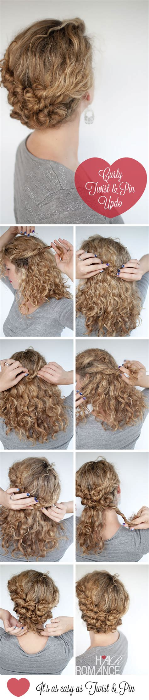curly hair updos step by step hairstyle tutorial easy twist and pin updo for curly