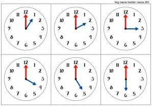 clock template for teaching time o clock cards for teaching time to