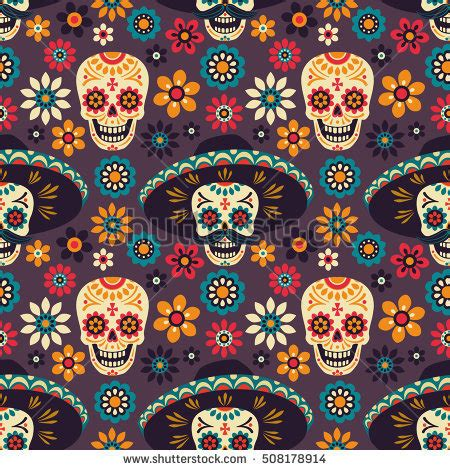 day of the dead background day dead seamless vector pattern sugar stock vector