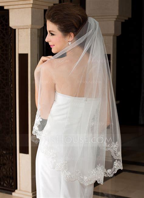one tier waltz bridal veils with lace applique edge 006036618 wedding veils jjshouse