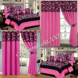 Pink Bedding Sets With Matching Curtains Damask 7 Pink Flock Comforter Set Quilted