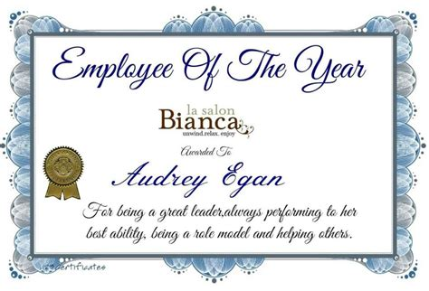 employee of the year certificate template free employee of the year certificate template update234