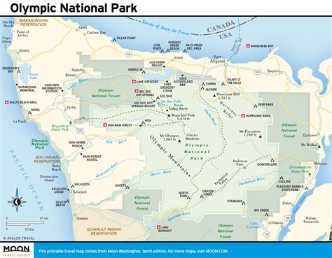 olympic national park map olympic national park pacific coast route in washington state