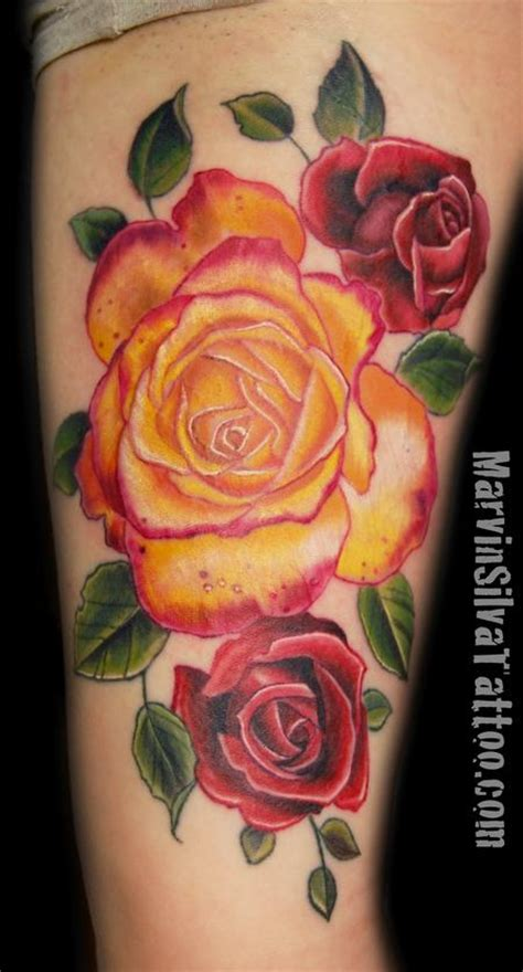 orange rose tattoo 2 unique orange on thigh