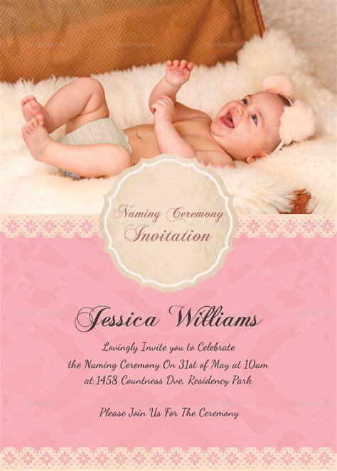 baby rice ceremony invitation card template free happy baby naming ceremony invitation card design template