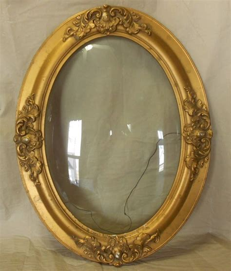 antique 25 quot x 19 quot oval picture frame glass made