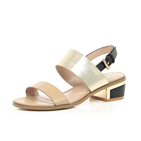 beige heeled sandals river island beige block heel sandals in gold