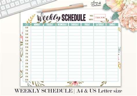 printable hourly planner pages weekly schedule printable hourly planner weekly organizer