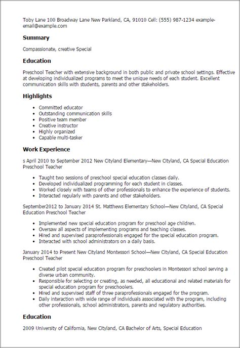 Resume Sles For Special Education Teachers Assistants Professional Special Education Preschool Templates To Showcase Your Talent Myperfectresume