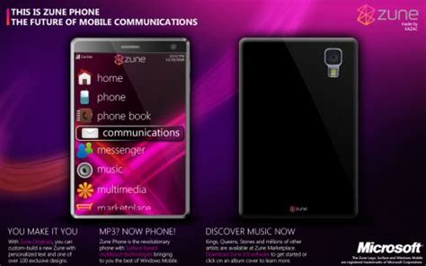 Rumour Fuel Added To The Microsoft Zune About New Models by Concept Zune Phone Is Impressive Features Windows Mobile